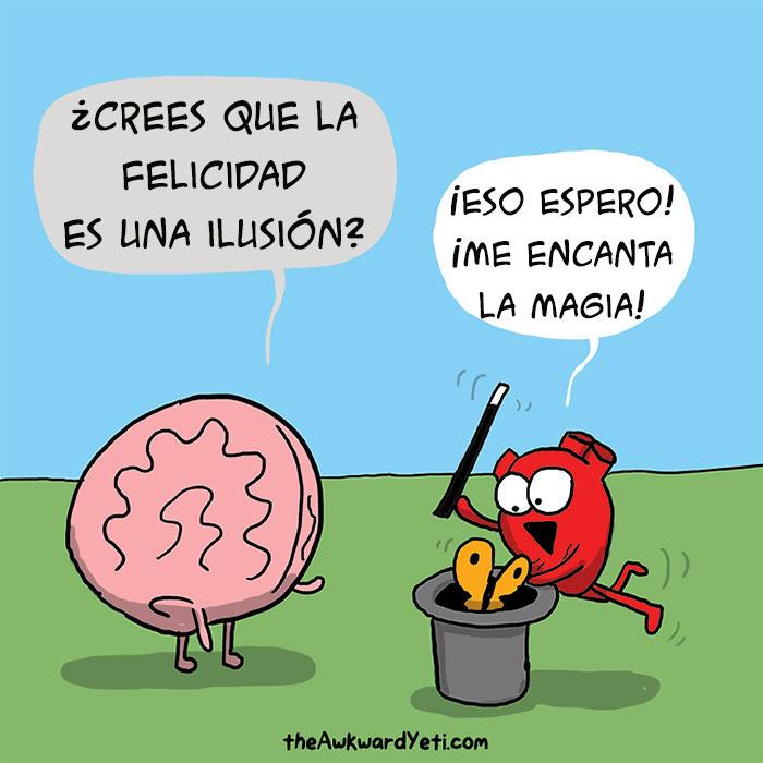 ilustración de un cerebro viendo como el corazón hace magia dentro de un sombrero