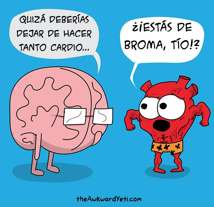 cerebro platicando con un corazón musculoso