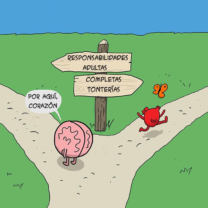 Cerebro y corazón yendo por caminos diferentes