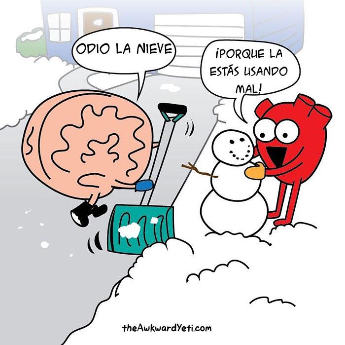 Ilustración de un corazón y un cerebro jugando con la nieve