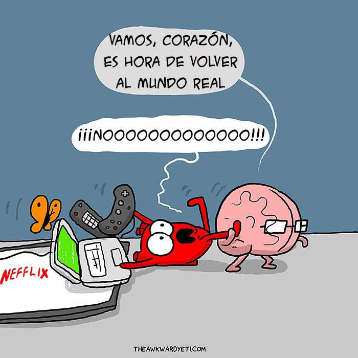 ilustración de un cerebro arrastrando a un corazón que está jugando videojuegos