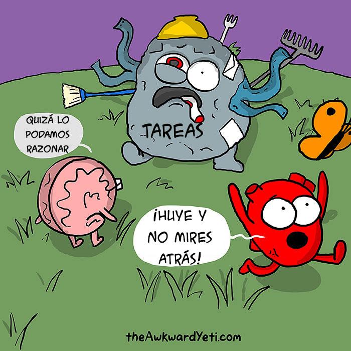 ilustración del cerebro intentando hacer las tareas mientras que el corazón huye de ellas
