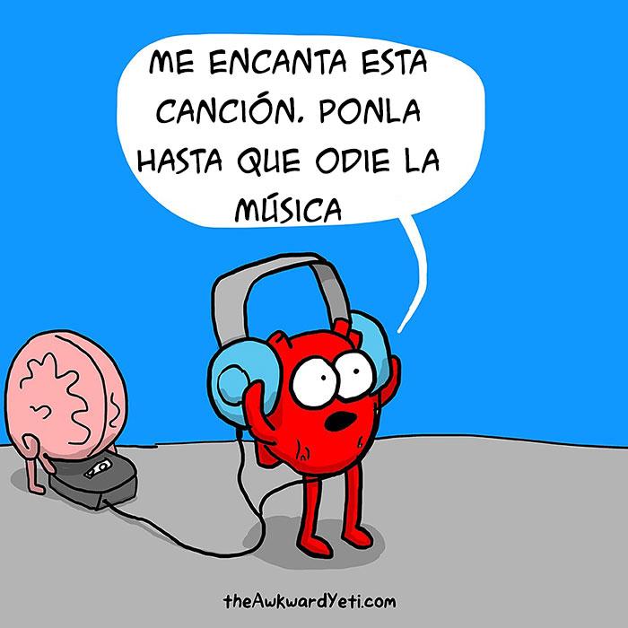 cerebro poniendo música al corazón