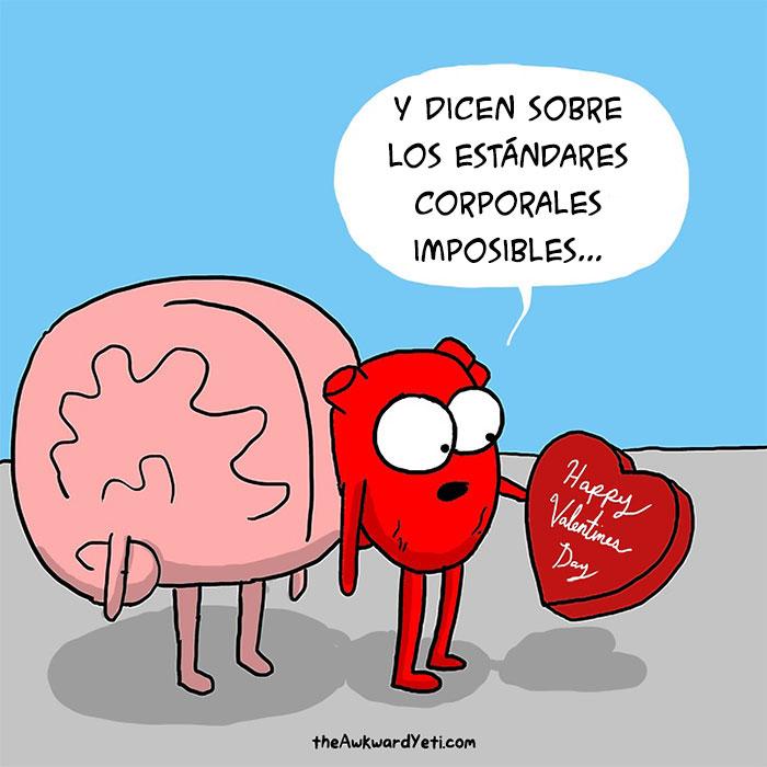 cerebro detrás de un corazón que trae una caja de san valentin