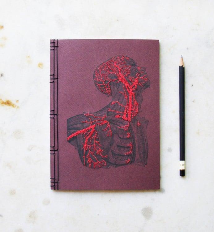 Cuaderno de anatomía bordado