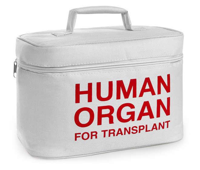 "Lonchera blanca con la frase ""Human Organ For Transplant"""