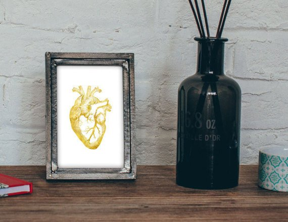 mesa de una casa con un portaretratos de la anatomía de un corazón