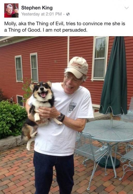 Stephen King cargando a su cachorro corgi