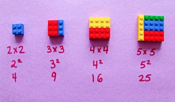 Cómo elevar al cuadrado utilizando piezas de lego