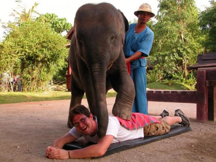 hombre recibiendo un masaje de elefante en Tailandia