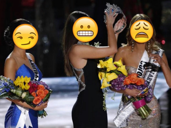 miss universo con emojis en sus caras