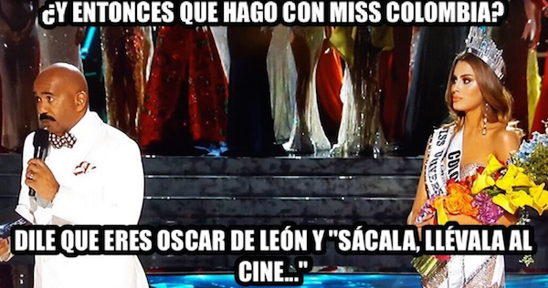 meme de steve harvey con la miss colombia