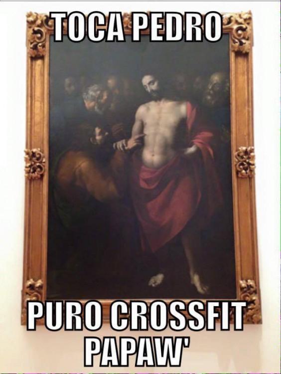 "Cuadro de la obra de arte donde sale Jesucristo ""toca pedro puro crossfit papaw´"""