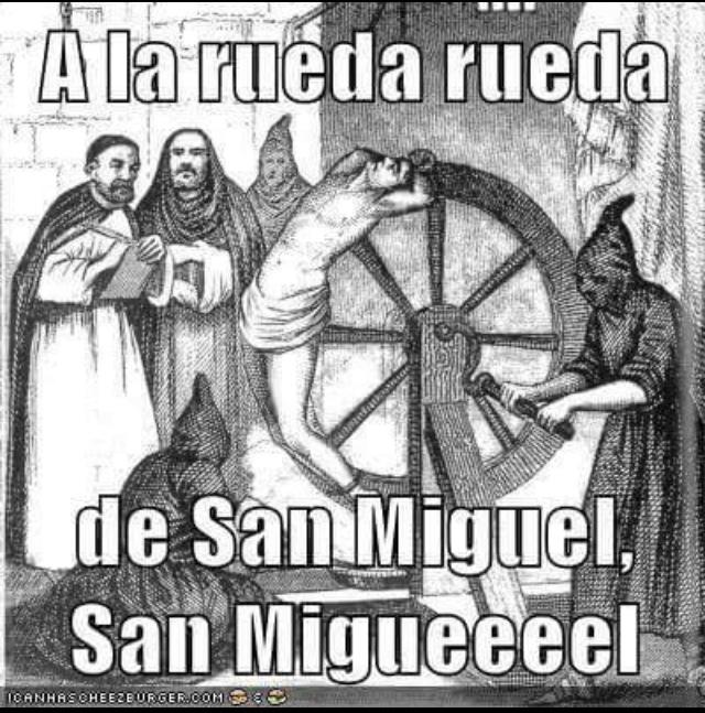 Meme renacentista con la frase a la rueda rueda de San Miguel