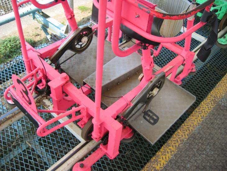 carritos de bicicleta de parejas en la montaña rusa en Japón