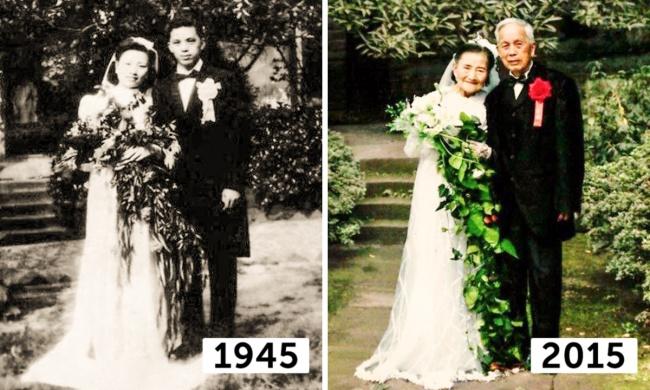 Comparación de la foto de u na pareja china de 1945 y el 2015