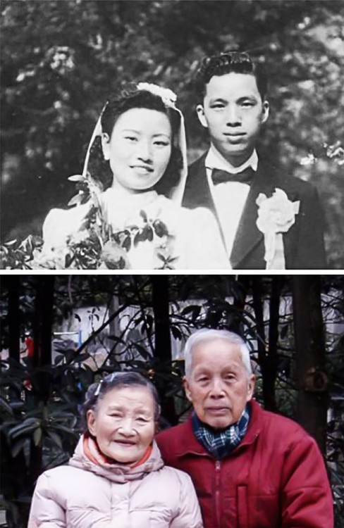 Pareja China recrea fotos de boda en su 70 aniversario