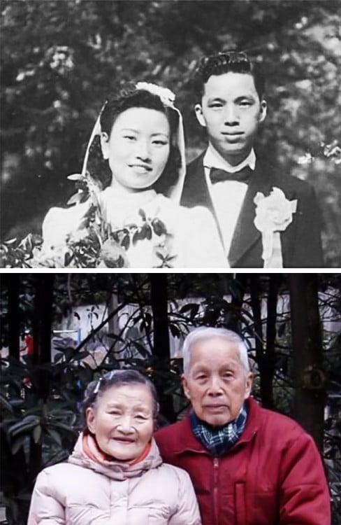 Pareja China recrea fotos de boda en su 70 aniversario