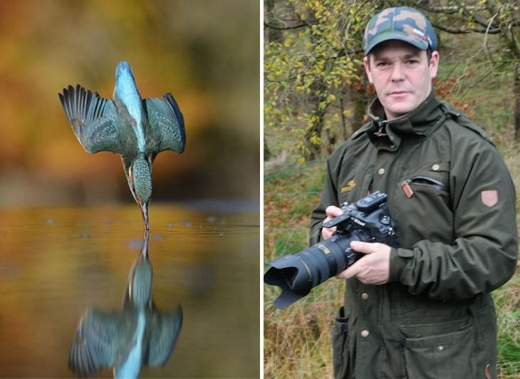 imagen dividida en dos donde se muestra al fotógrafo Alan McFayden junto a su imagen perfecta