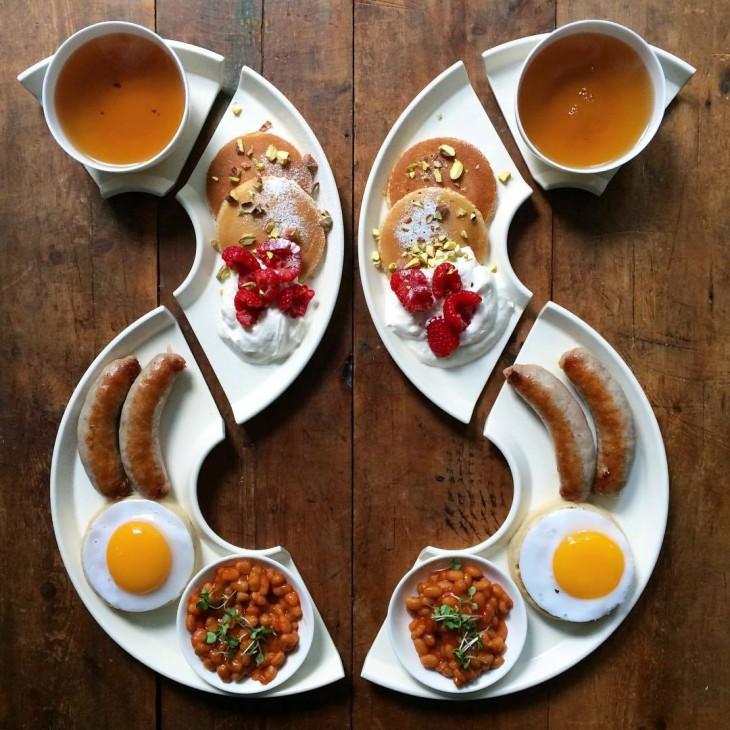 Desayunos simétricos con frijoles, huevo y salsa