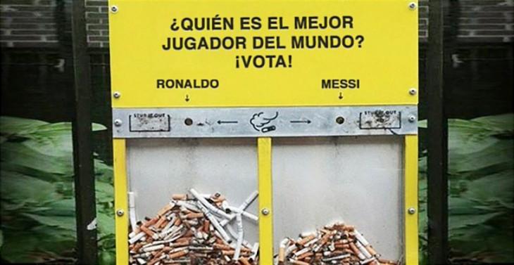 Publicidad en un contenedor para echar las colillas de cigarro