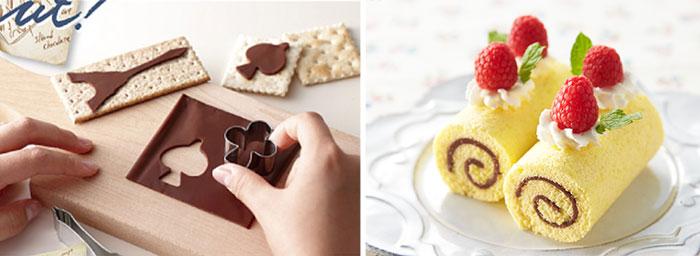 rollos de chocolate y rebanadas de chocolate en forma de figuras populares
