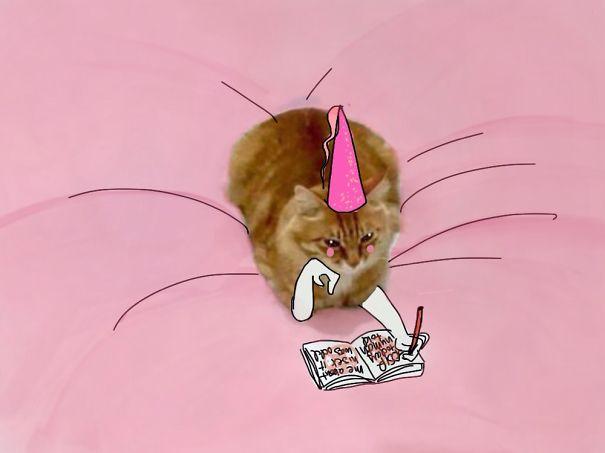 Gato sobre una superficie rosa donde simula estar escribiendo un diario