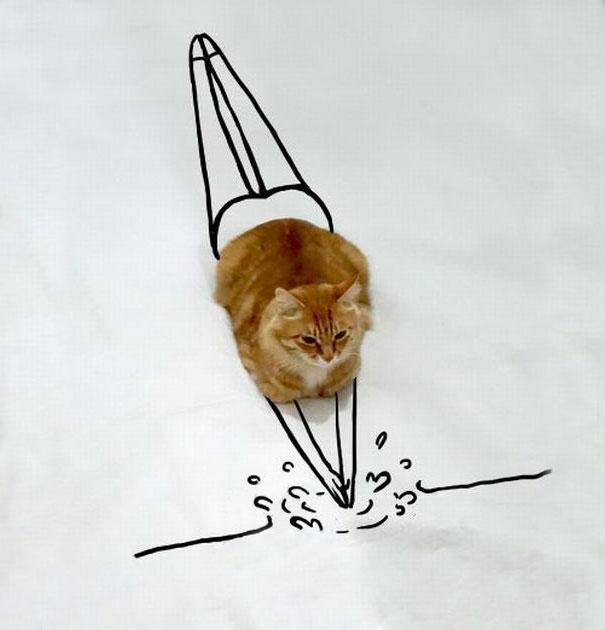 dibujo de un gato simulando que esta a punto de echarse un clavado al agua