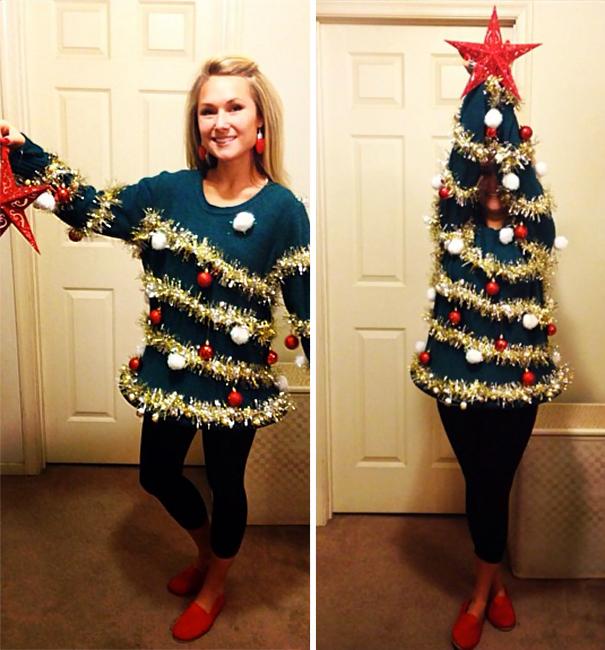 mujer que su sueter se convierte en arbolito de navidad