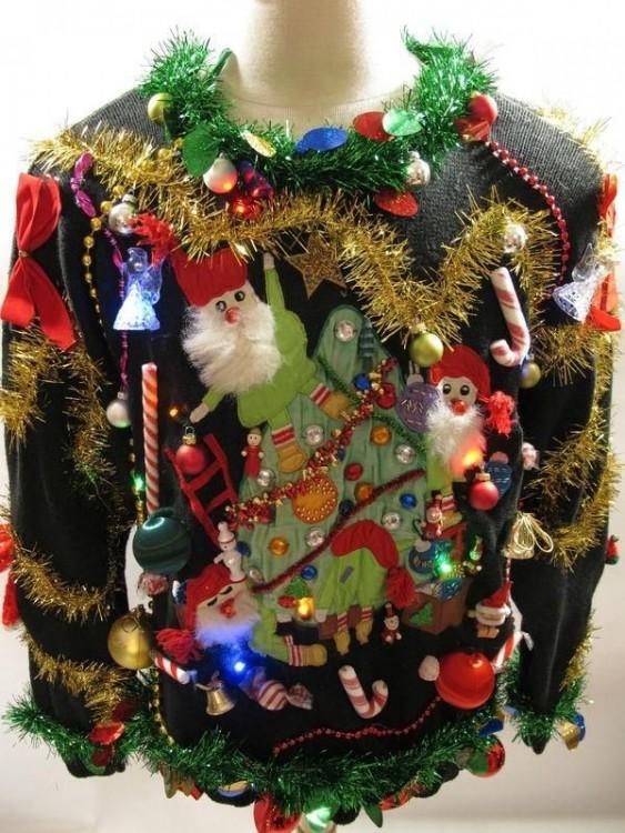 sueter capiroteado sobre la navidad