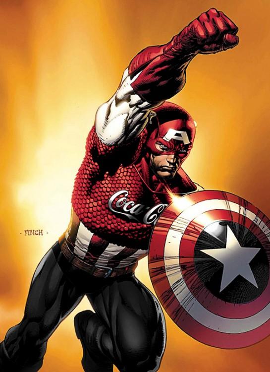 Capitán América patrocinado por Coca Cola