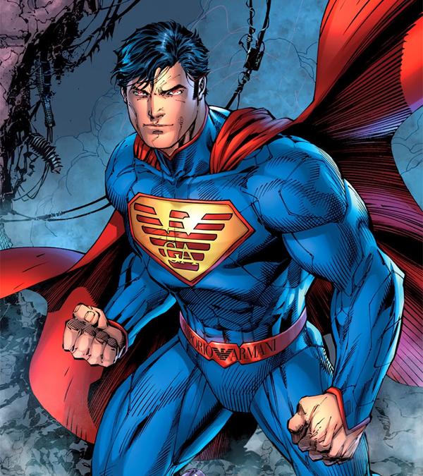Supermán patrocinado por la marca Giorgio Armani