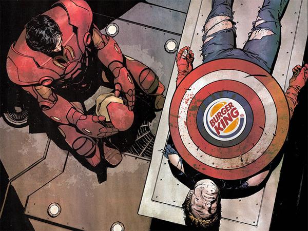 Iron Man patrocinado por Mc Donald´s y Capitán América patrocinado por Burguer King