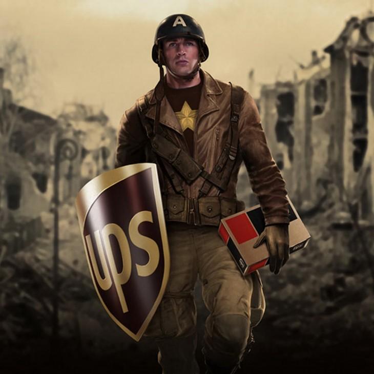 Capitán América patrocinado por la marca UPS