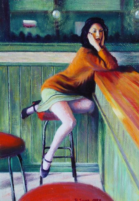 pintura de una mujer sentada sobre una pierna en un banco recargada en una barra