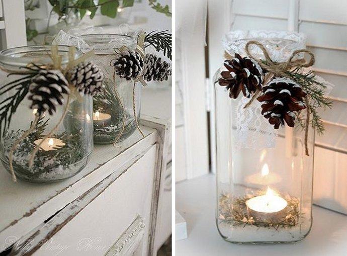 vasos como veladoras navideñas