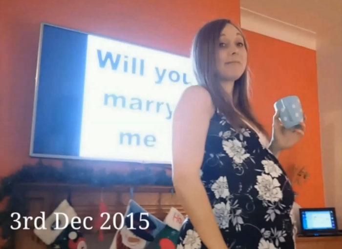 esposa con una gran barriga en diciembre de 2015