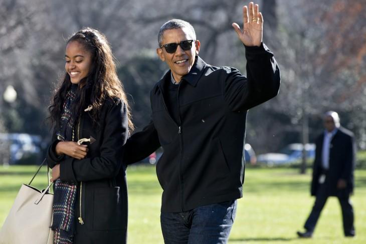 barack Obama con su hija malia