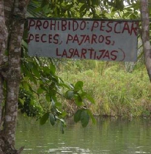 letrero donde dice prohibido pescar algunos animales