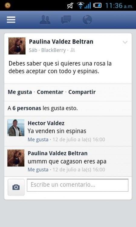 captura de pantalla de facebook de un padre que le comenta a su hija su estatus