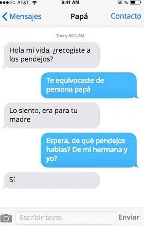 captura de pantalla del mensaje de una hija a su padre