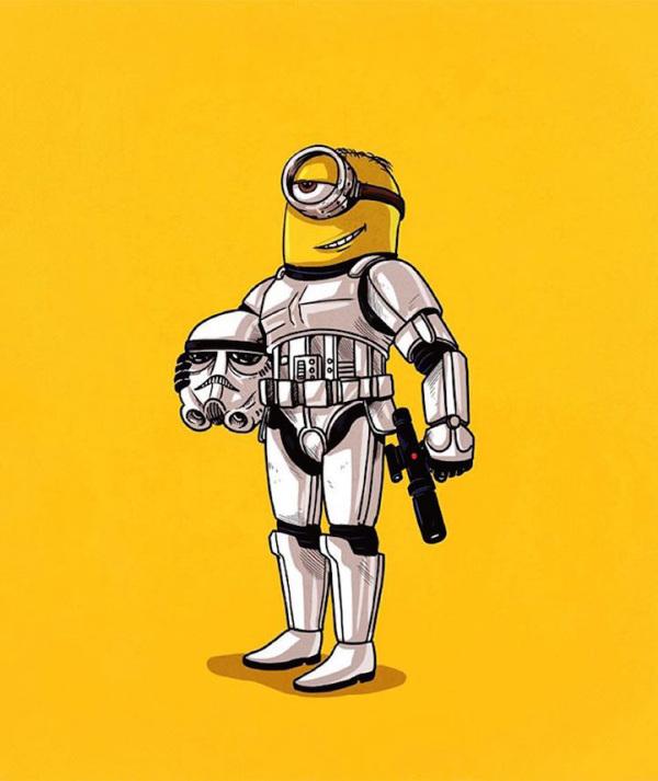 minion disfrazado de stormtrooper