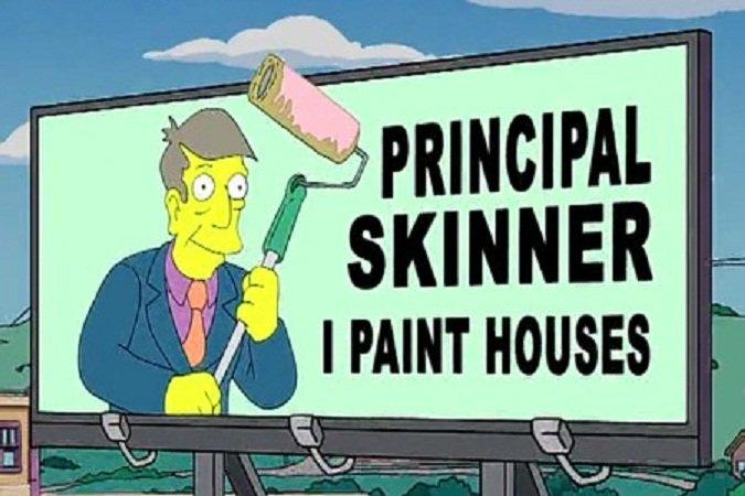 el director skinner pintando casas en un anuncio