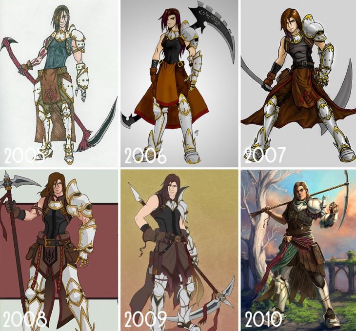 progreso en el dibujo de guerreros, arvalis