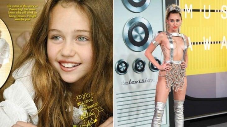 Miley cyrus antes y después de sus comienzos