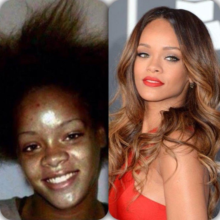 Rihanna en sus inicios ydespués de consolidarse como cantante