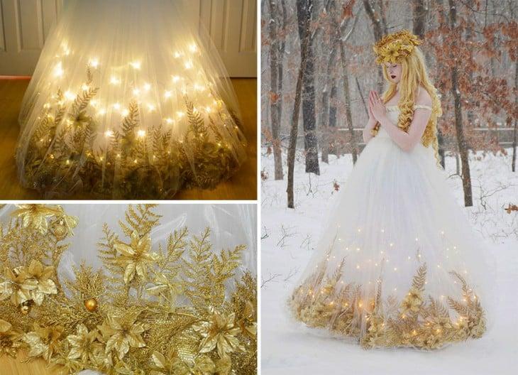 Angela Clayton con un vestuario de ángel de la navidad
