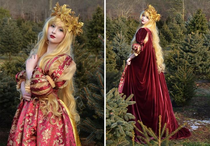 Angela Clayton vestida de princesa de la edad media