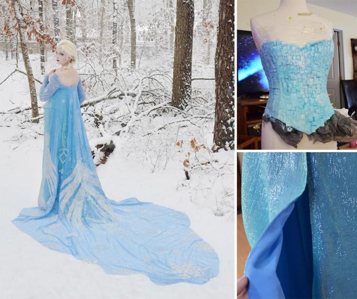 """Chica vestida de la princesa Elsa de la película """"Frozen"""""""
