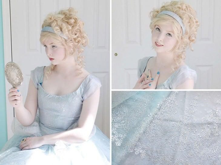 Angela Clayton vestida de Cenicienta